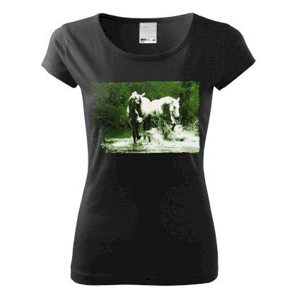 T shirt damski konie w wodzie, czarna Sklep Jeździecki